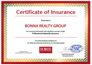 Bonna Realty Group Certificate of Insurance assets appraisal land for sale home for sale real estate for sale